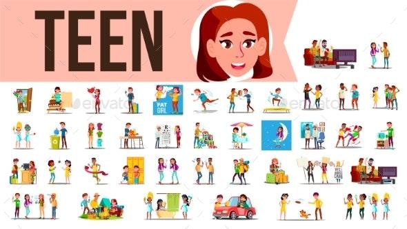 Teen Set Vector - People Characters