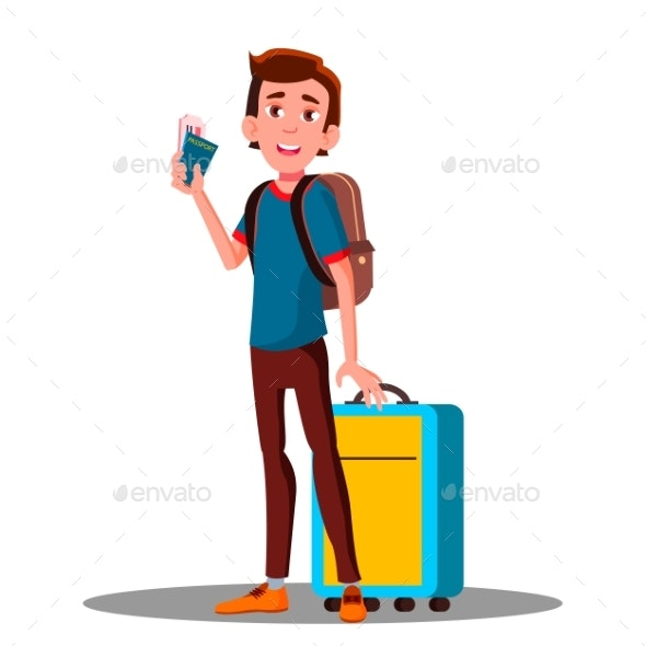 Young Guy at Airport With Suitcase - People Characters