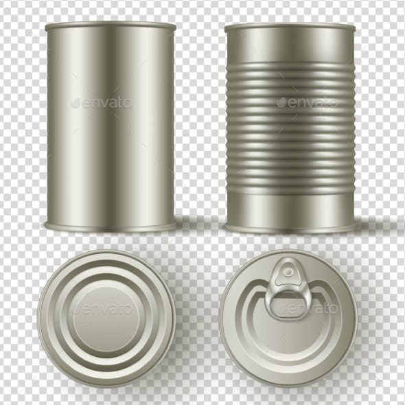Realistic Tin Can Mock Up Set - Man-made Objects Objects