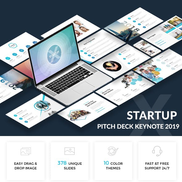 Startup X - Professional Pitch Deck Keynote Template 2019