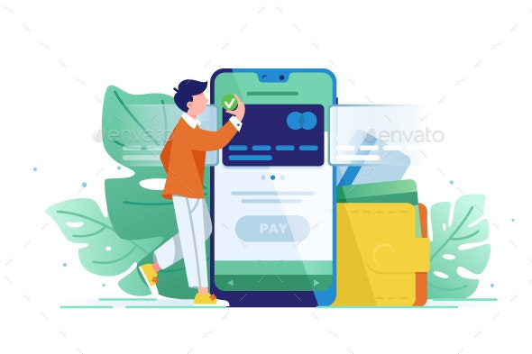 Young Wealthy Man Pays Card Using Mobile Payment - Computers Technology