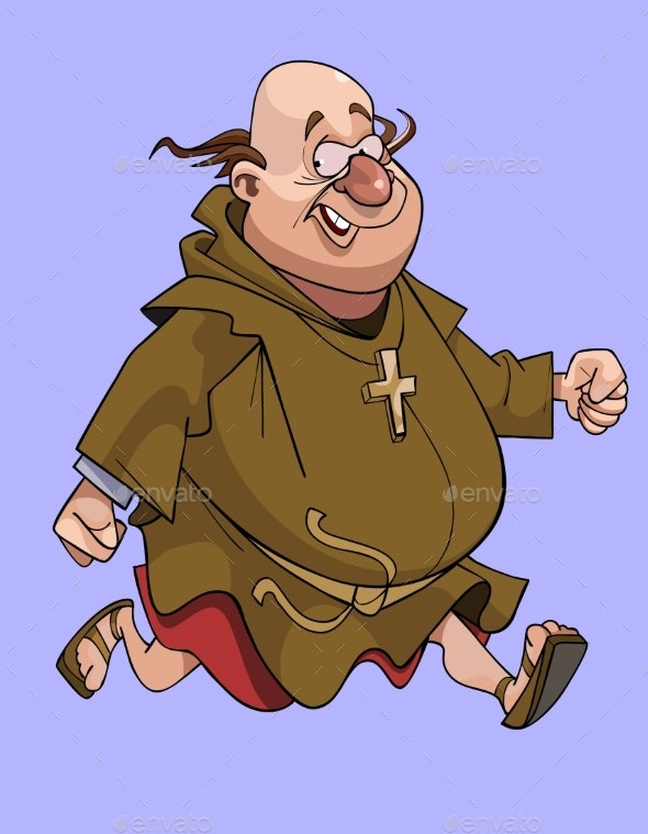 Cartoon Cheerful Man in a Catholic Monks Cassock - People Characters