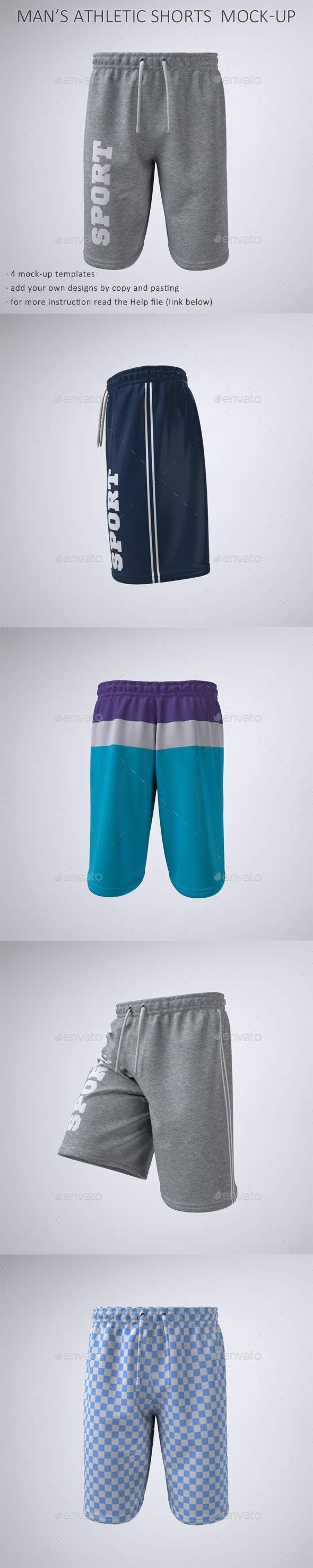 Man's Athletic Shorts, Sport or Gym Shorts Mock-Up - Apparel Product Mock-Ups