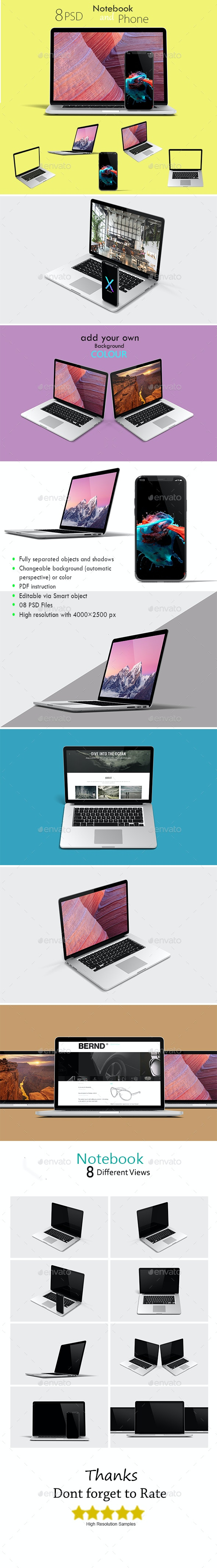 Laptop and Phone X Mockup - Multiple Displays