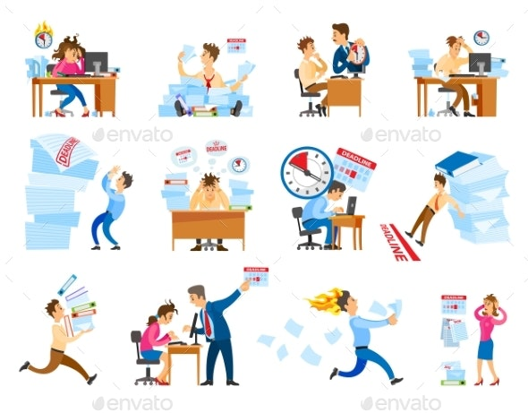 Deadline at Work Icons Set Vector Illustration - Concepts Business