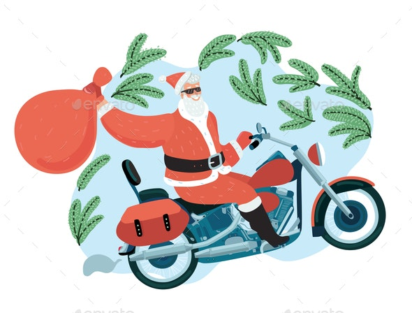 Santa Claus with a Gift Sack Riding a Motorbike - Miscellaneous Vectors