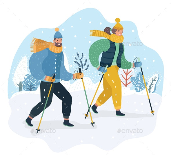 Couple Practicing Nordic Walking in the Snow - People Characters