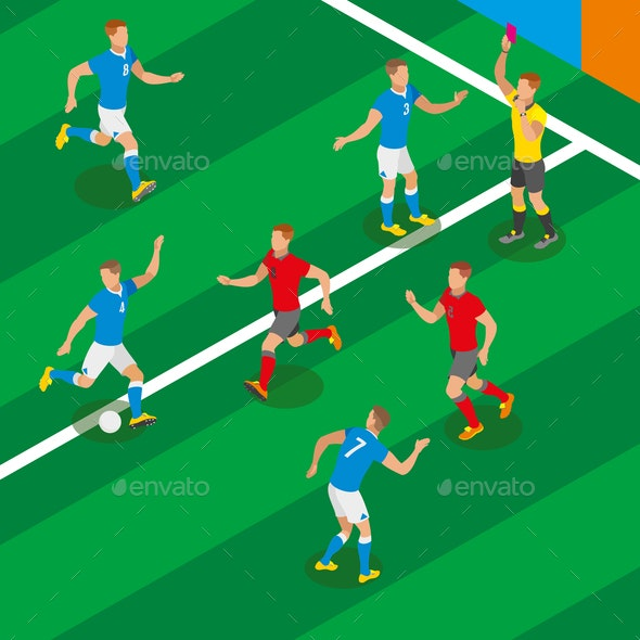 Football Isometric Composition - Sports/Activity Conceptual