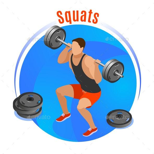 Squats With Barbell Isometric Background - People Characters