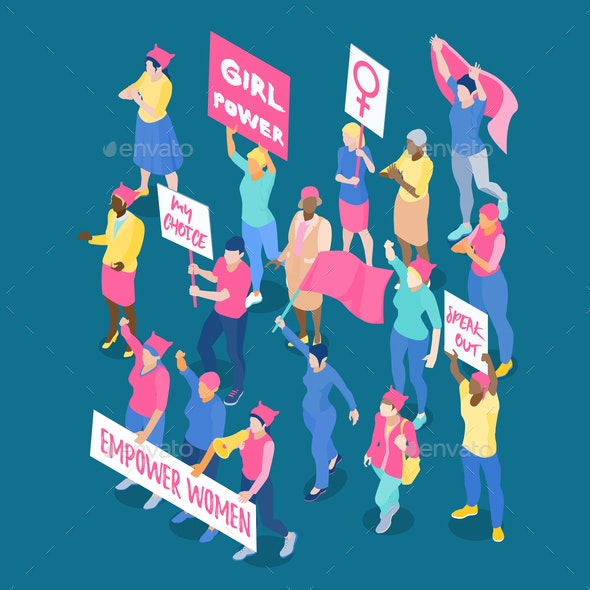 Protesting Women Isometric Illustration - People Characters