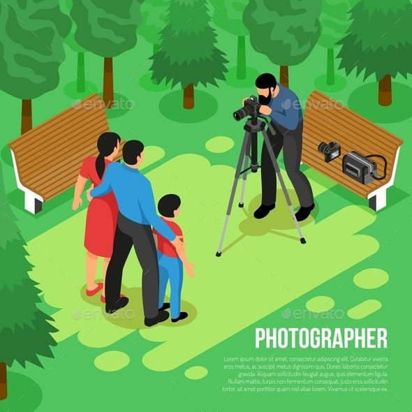 Photographer Isometric Composition - People Characters