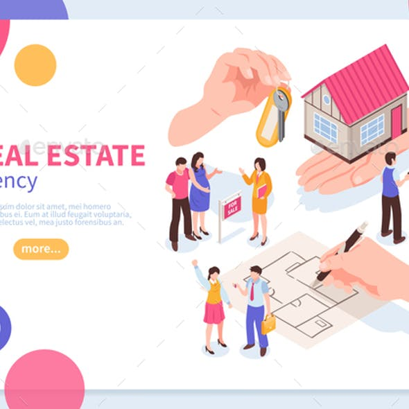 Estate Agency Isometric Concept Banner