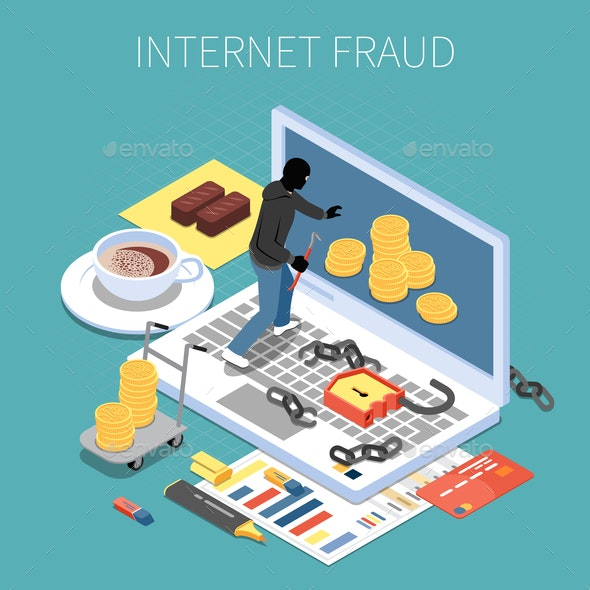 Internet Fraud Isometric Composition - Business Conceptual