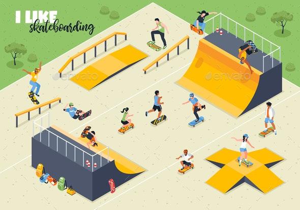 Skateboard Isometric Horizontal Illustration - People Characters