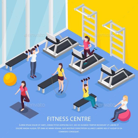 Isometric Women Fitness Background - Health/Medicine Conceptual