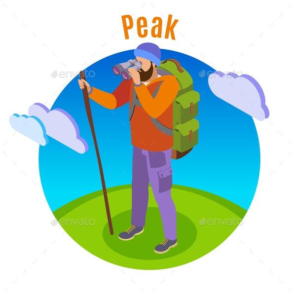 Outdoor Peaks Hiking Background - People Characters