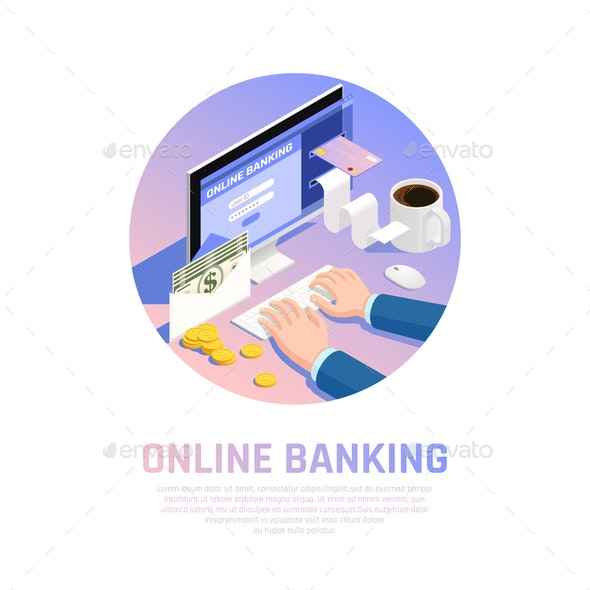 Accounting Online Banking Isometric Composition - Business Conceptual