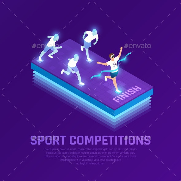 VR Sport Competition Isometric Composition - People Characters