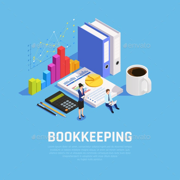 Book Keeping Isometric Composition - Business Conceptual