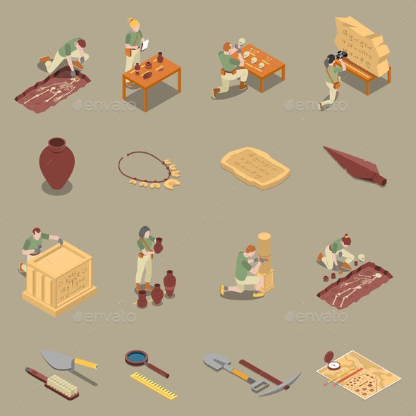 Archeology Isometric Icons Set - People Characters