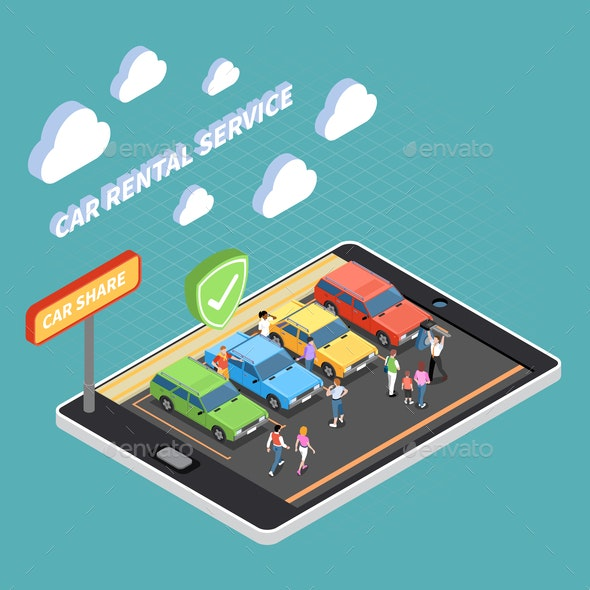 Carsharing Isometric Concept - Business Conceptual