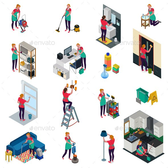 Cleaning Services Isometric Set