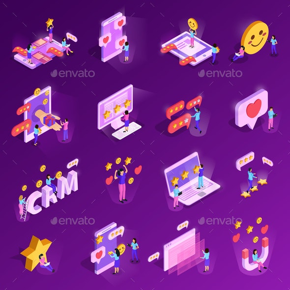 CRM System Isometric Icons - Business Conceptual