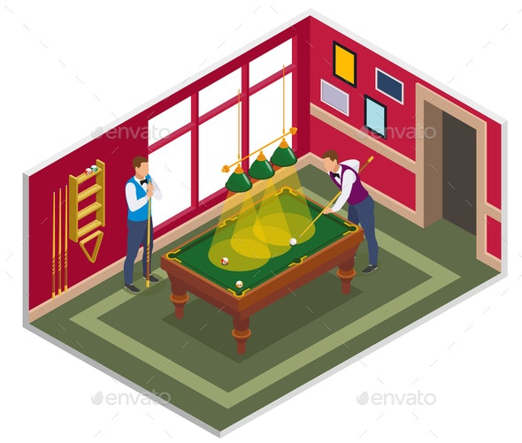 Billiards Game Isometric Composition - Sports/Activity Conceptual
