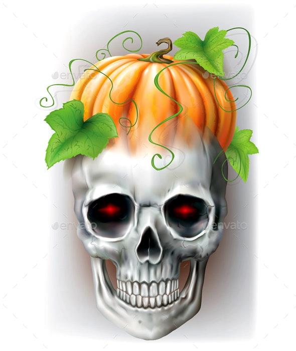 Skull with Pumpkin - Halloween Seasons/Holidays