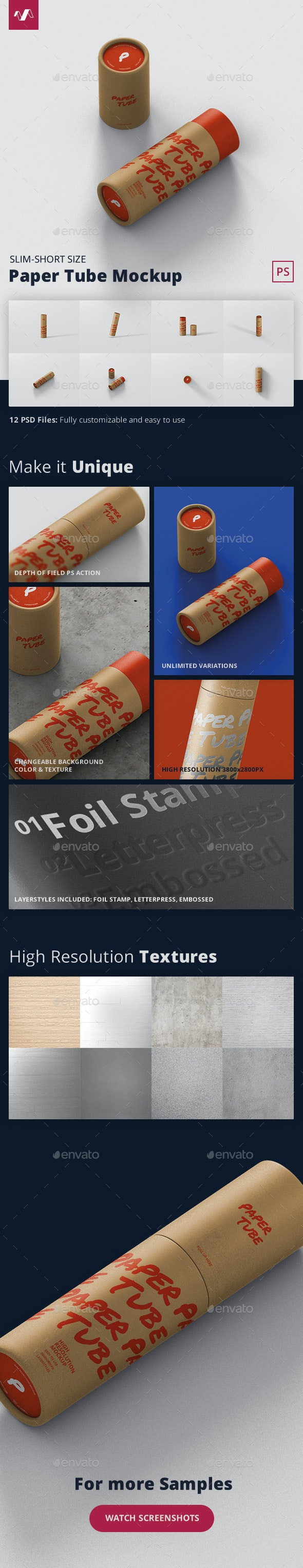 Paper Tube Mockup - Slim Short Size - Miscellaneous Packaging