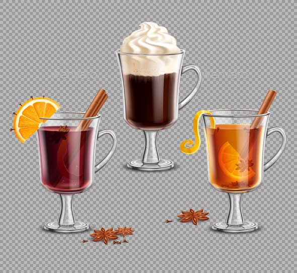 Mulled Wine Grog and Irish Coffee on Transparent Background - Miscellaneous Vectors