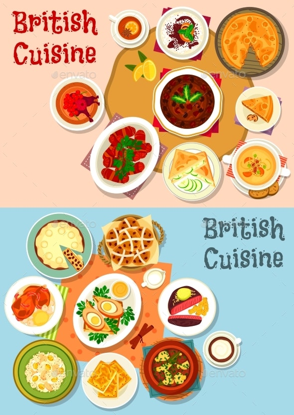 British Cuisine Popular Dishes Icon Set Design - Food Objects
