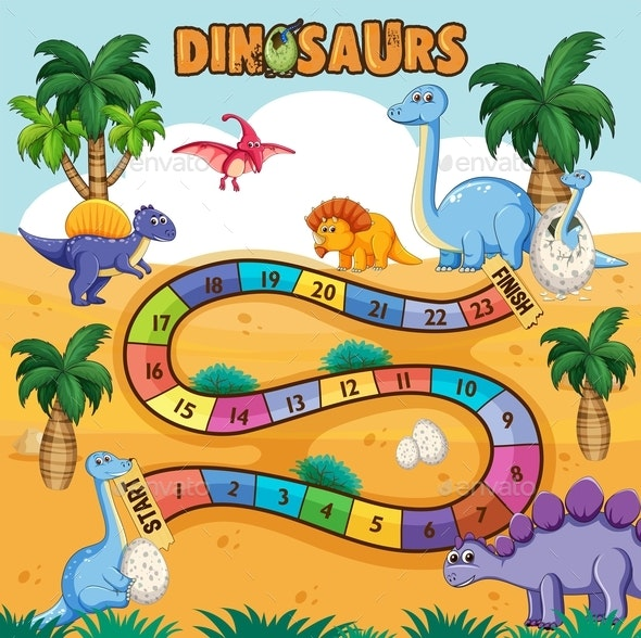 Dino Path Board Game - Animals Characters