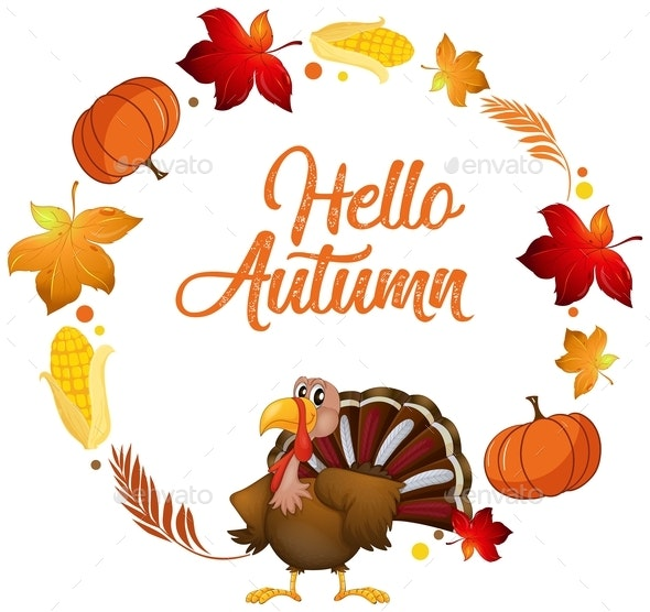 Turkey on Autumn Card Template - Animals Characters