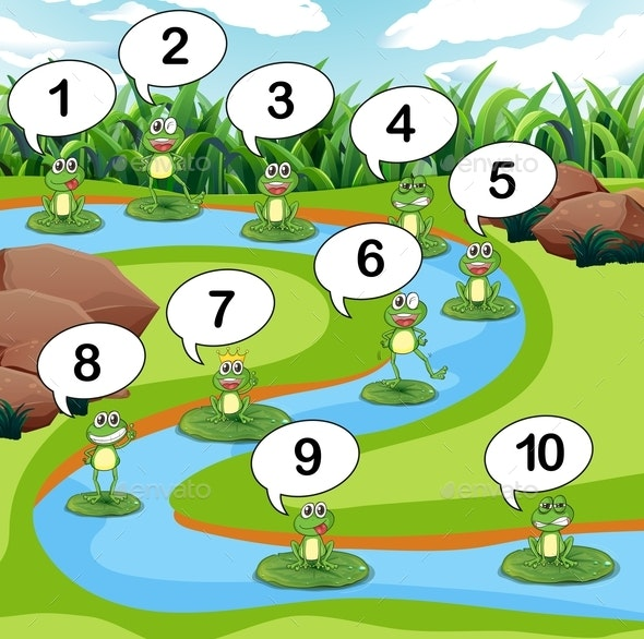 Frogs Count Numbers at Pond - Animals Characters