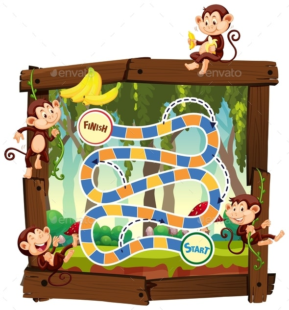 Monkey in Jungle Board Game - People Characters