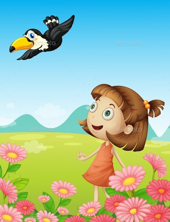 Young Girl and Bird - People Characters