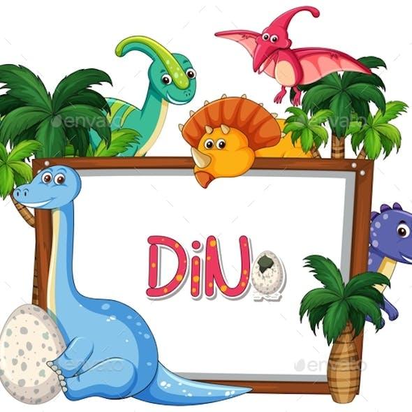 Many Dinosaur Frame Template