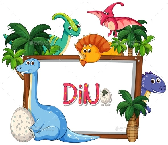 Many Dinosaur Frame Template - Animals Characters