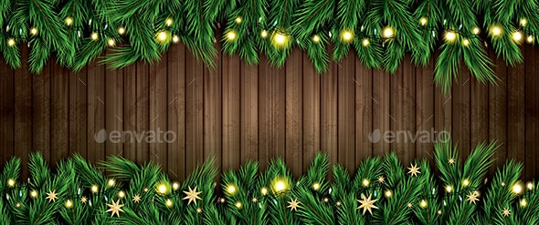 Fir Branch with Neon Lights and Golden Stars on Wooden Background - Christmas Seasons/Holidays