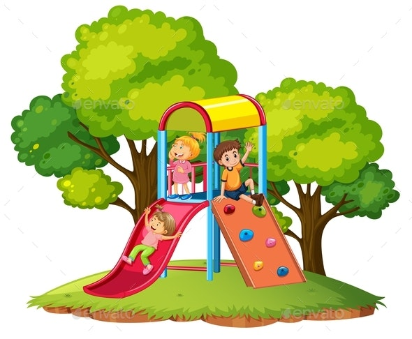 Children Play Slide at Playground - People Characters