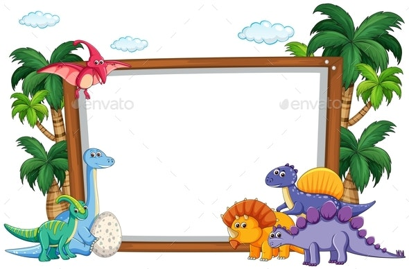 Dinosaur on Blank Template - Animals Characters