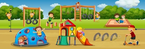 Children Playing at Playground - People Characters
