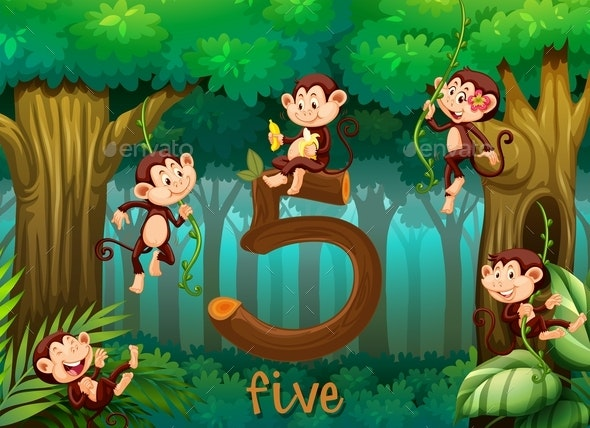 Five Monkey in The Jungle - Animals Characters