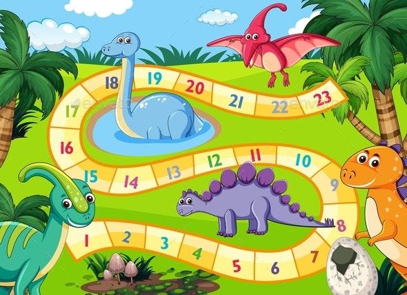 Prehistoric Dinosaurs Boardgame Scene - Animals Characters