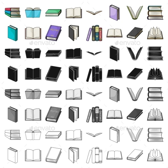 Books Set Icons in Cartoon Style - Miscellaneous Vectors
