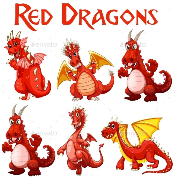 Set of Red Dragon Characters - Animals Characters