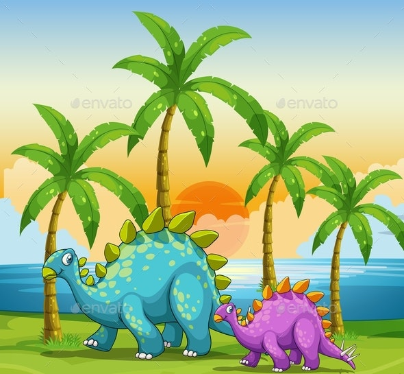 Dinosaurs at Sunset on The Beach - Animals Characters