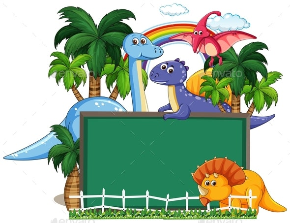 Dinosaur With Chalkboard Banner - Animals Characters