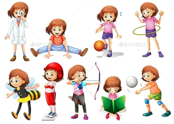 Set of Girl Activity - People Characters